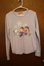 """PEANUTS """"Snow Day"""" Snoopy-Charlie Brown-Linus Lavender Shirt size small - $7.99"""