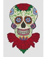 Sugar Skull On Roses cross stitch chart Artist's Alley  - $10.80