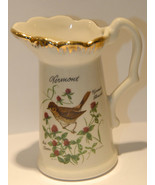 SOUVENIR PITCHER VERMONT CERAMIC GOLD GILT VINTAGE STATE BIRD HERMIT THR... - $19.99