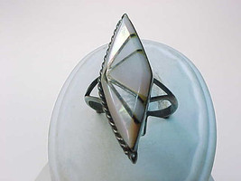 MOTHER of PEARL Pink and White Inlaid STERLING Silver RING - Vintage - S... - $48.00