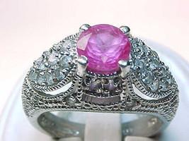 PINK Cubic Zirconia Vintage RING in STERLING Silver - Size 7 - ELEGANT - $75.00