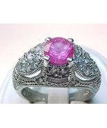 PINK Cubic Zirconia Vintage RING in STERLING Silver - Size 7 - ELEGANT - $75.00