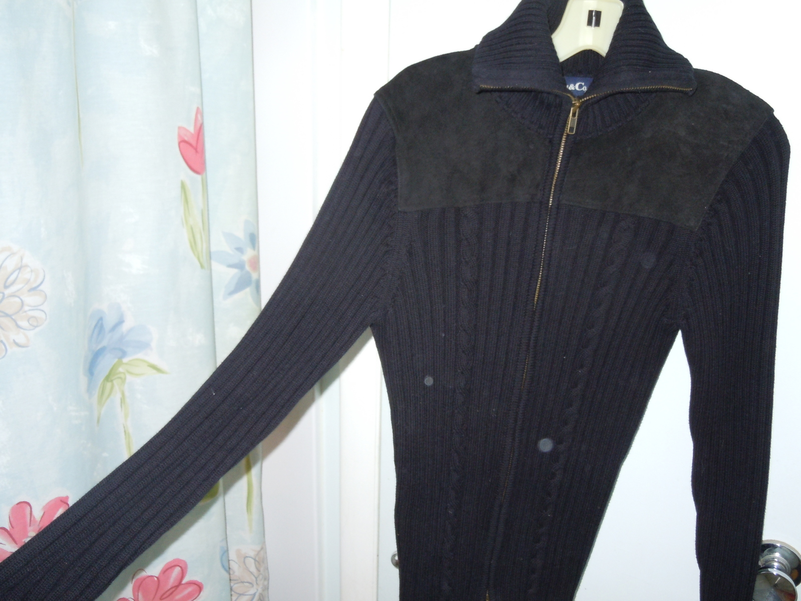 Denim & Co. Junior's Size Medium Black Knit Leather Sweater Jacket