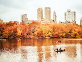 New York Central Park Autumn Boat 24x18 Wall Print POSTER - $9.95