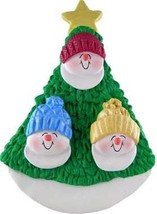 Snowman Family Of Three In Tree Christmas Ornament Gift Present Personalize Free - $12.38