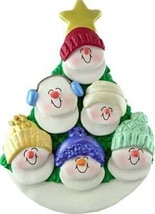 Snowman Family Of Six  In Tree Christmas Ornament Gift Present Personalize Free - $12.38