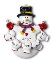 Snowman Family Of 5 Five Christmas Ornament Mitten Gift Present Personalize Free - $12.33