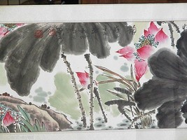 Chinese Scroll Painting: Two Egrets with Lotus - $7,425.00