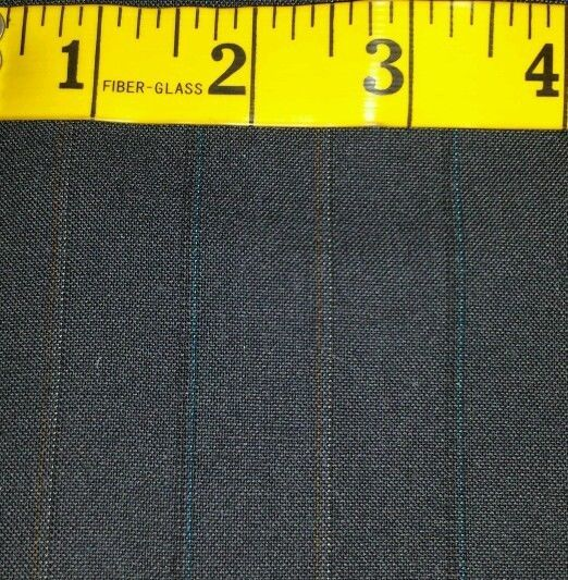 Super 130'S Italian Wool Suit fabric Blue Red Stripes 4.2 Yard - MSRP 700