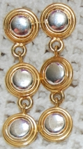 """Liz"" Gold & Silver Drop Earrings (Pierced Post ) - $4.50"