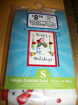 Home Holiday Christmas Decor Small Skating Snowman Happy Garden Flag Decoration image 3