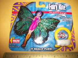 Toy Gift Fairy Kite Mini Microlite Mylar SkyTail Green Wing Pixie Purple... - $6.64