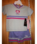 Fashion Gift Baby Clothes 3M-6M Wilson Purple Short Set Gray Shirt Botto... - $18.99