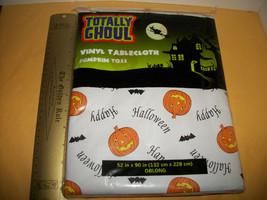 Home Holiday Decor 52 x 90 Oblong Happy Halloween Pumpkin Toss Vinyl Tab... - $4.74
