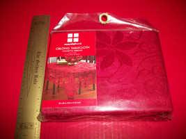 Home Holiday Table Cloth 60 x 84 Red Oblong Poinsettia Ribbon Linen Tabl... - $14.24