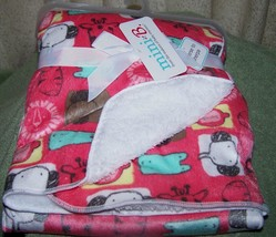 "Just for Baby Coral Blanket with Animals Print 30"" x 40"" NWT - $13.74"