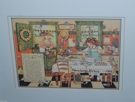 "'84 Mary Engelbreit Print ""Recipe for Happiness"" Signed Dated '88 Framed... - $74.24"