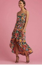 ECI New York V-neck hi-low spaghetti strap Floral Dress - Size 10 #BL0518 - $42.72