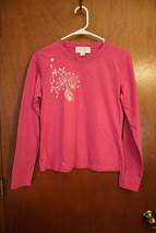 Annex Pink long sleeve t-shirt with silver embellishment size Medium - $4.99