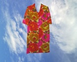 1960s vintage psychedelic neon floral hippie midi dress size medium large 8 - $49.99