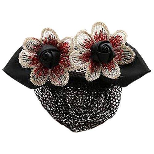 Retro Handicrafts Flower Hair Bun Cover Bowtie Hair Snood Net, Black with Fine M - $23.44