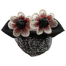 Retro Handicrafts Flower Hair Bun Cover Bowtie Hair Snood Net, Black wit... - $23.44