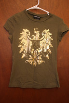 Wet Seal Green Juniors Medium T-Shirt Gold Eagle Graphic Tee - $3.99