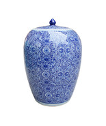BLUE WHITE CLUSTER FLOWER CHINESE Ginger Jar, HAND PAINTED, Chinoiserie,... - $239.00