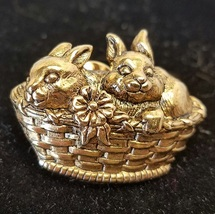 Bunny Tack Pin ~ Basket Of Love Pin ~  Vintage 1990 Avon ~ Lapel Pin ~ S... - $8.99