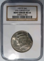 1993 D Kennedy Half Dollar NGC MS 64 Curved Clip 10% Clipped Mint Error ... - $129.99