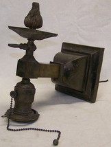 antique mission arts/crafts era brass gas/electric wall sconce light - $145.00