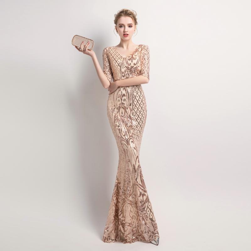 Sleeve sequins dress women elegant long evening party dress 9cad427c a690 4b12 b8e8 9c431d41b518