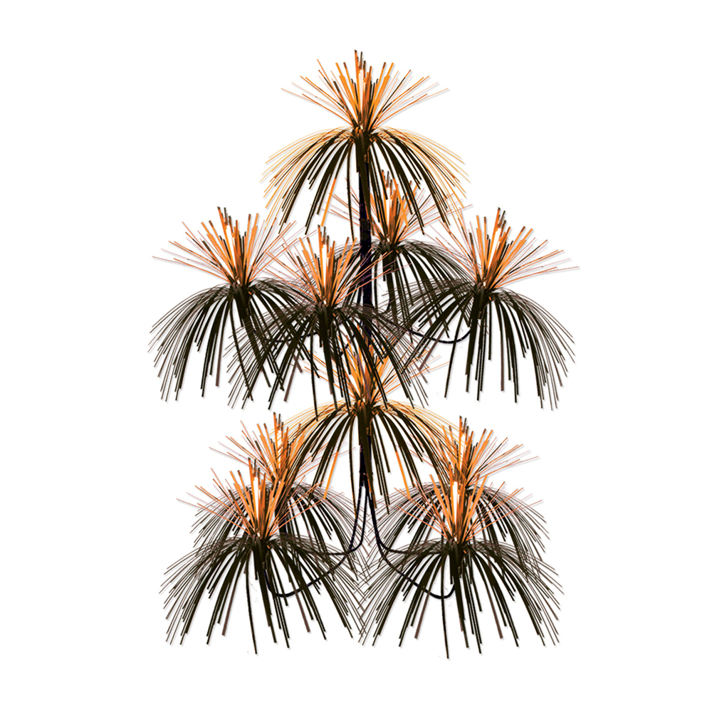 "Beistle Firework Chandelier 24"" x 12"" - Orange & Black- Pack of 12"