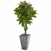 Multicolor 5.5' Plumeria Artificial Tree in Gray Planter UV Resistant (Indoor/Ou - $338.58