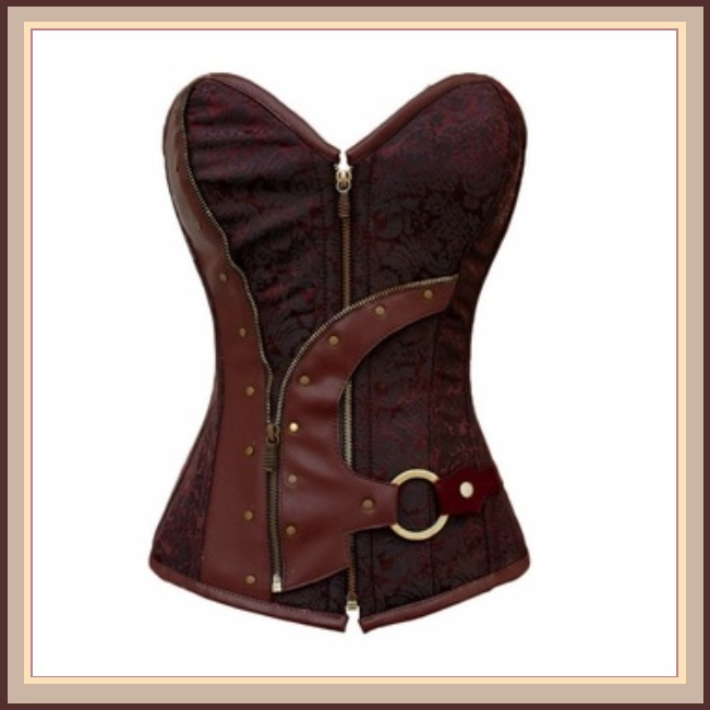 Renaissance Woodlands Steampunk Brown Satin Brocade Back Lace Up Overbust Corset