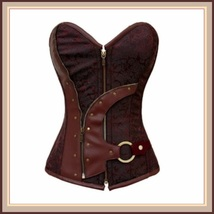 Renaissance Woodlands Steampunk Brown Satin Brocade Back Lace Up Overbust Corset image 1