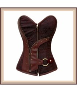 Renaissance Woodlands Steampunk Brown Satin Brocade Back Lace Up Overbus... - $56.95