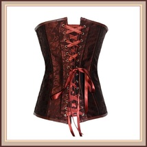 Renaissance Woodlands Steampunk Brown Satin Brocade Back Lace Up Overbust Corset image 2