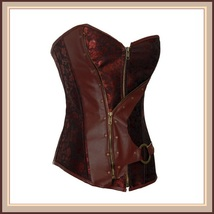 Renaissance Woodlands Steampunk Brown Satin Brocade Back Lace Up Overbust Corset image 3
