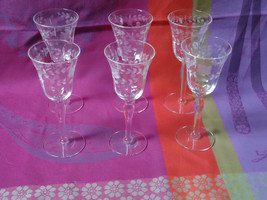 Huntington Glass 6 Cordials w Optic Panels Clear Stemware Etched - $20.79