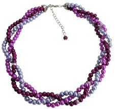 Custom Bride Twisted Braided Necklace Lilac Purple Plum Pearls - $22.48