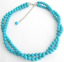 Natural Turquoise Handmade Necklace Twisted 2 Strand Necklace - $22.48