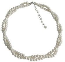 Flower Girls Two Strand Necklace Ivory Pearl Twisted Necklace - $18.58