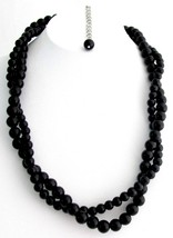 Black Jewelry Black Pearl Necklace Black Twisted Necklace - $19.88