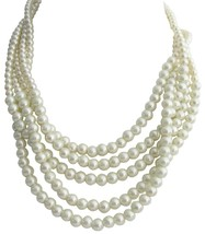 Ivory Pearl 5 Strand Necklace Twisted Vintage 1960s Design - $30.93