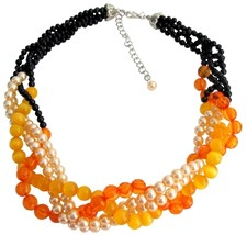 Fall Jewelry Fall Color Black Orange Peach Braid Necklace - $31.58