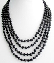 Black Pearl 100 Inches Long Necklace Hand Knotted Pearl Necklace - $32.23