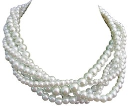 White Pearl 5 Strand Necklace Twisted Five Strand White Necklace - $34.18