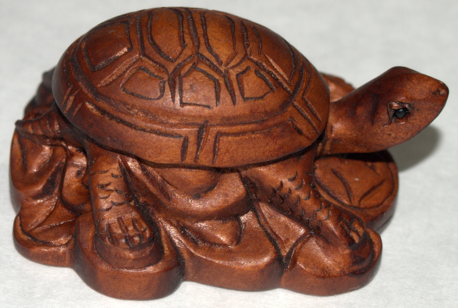 Netsuke Figurine Turtle Resting on Coins Hand Carved Wood Japan Signed