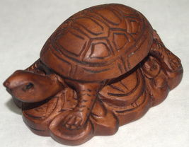 Netsuke Figurine Turtle Resting on Coins Hand Carved Wood Japan Signed image 5
